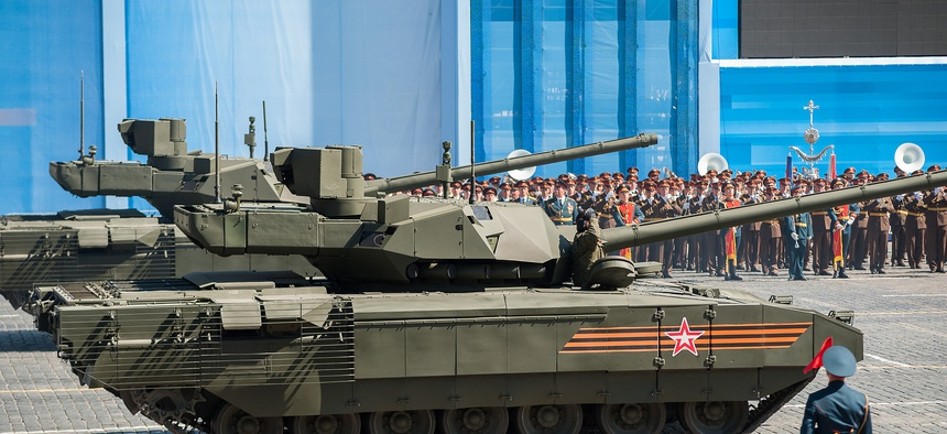 The Armata T-14 at Victory Day, Moscow, 2015.