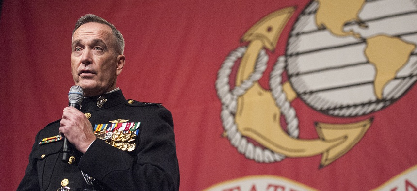 Marine Corps Gen. Joseph F. Dunford Jr., the 19th chairman of the Joint Chiefs of Staff, delivers remarks at the Boston Semper Fidelis Society Birthday Luncheon at the Boston Convention and Exhibition Center in Boston,Nov. 13th, 2015.