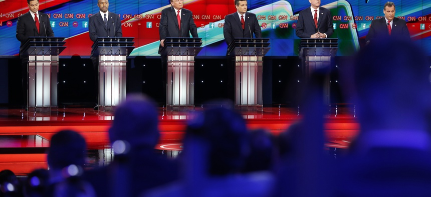 Republican presidential candidates, from left, Marco Rubio, Ben Carson, Donald Trump, Ted Cruz, Jeb Bush, and Chris Christie, participate in the CNN Republican presidential debate at the Venetian Hotel & Casino on Tuesday, Dec. 15, 2015, in Las Vegas.