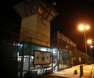 The entrance to Camp VI detention facility is guarded at Guantanamo Bay Naval Base, Cuba, Wednesday, Nov. 20, 2013.