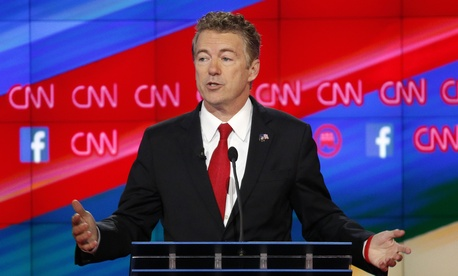 Rand Paul speaks during the CNN Republican presidential debate at the Venetian Hotel & Casino on Tuesday, Dec. 15, 2015, in Las Vegas.