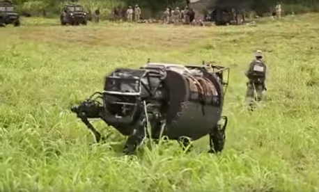 Legged Squad Support System (LS3) DARPA Robot testing at RIMPAC 2014 in Hawaii.