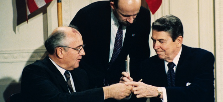 In this Dec. 8, 1987 file photo U.S. President Ronald Reagan, right, and Soviet leader Mikhail Gorbachev exchange pens during the Intermediate Range Nuclear Forces Treaty signing ceremony in the White House East Room in Washington, D.C.