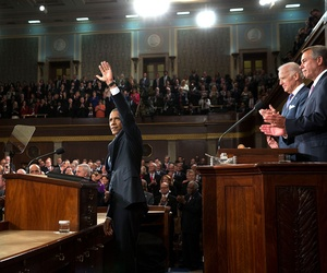 Obama waves before his 2015 State of the Union speech last January.