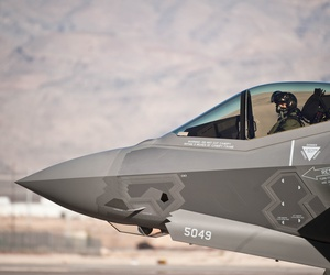 An Air Force pilot taxies an F-35A Lightning II at Nellis Air Force Base, Nev., Jan. 15, 2015.