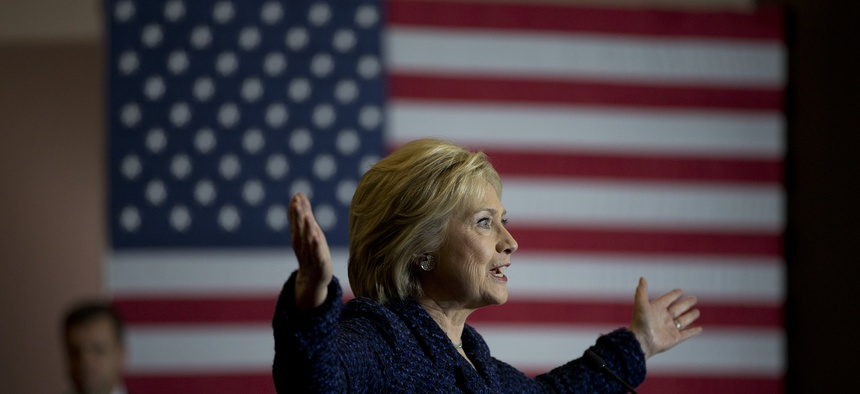 Democratic presidential candidate Hillary Clinton speaks during a rally on the campus of Simpson College Thursday, Jan. 21, 2016, in Indianola, Iowa.