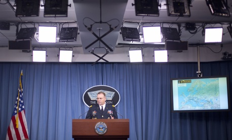 The commander of U.S. Army Europe, Lt. Gen. Ben Hodges, speaks during his news conference at the Pentagon, Dec. 9, 2015.