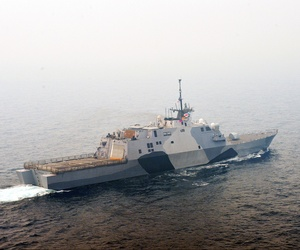 The littoral combat ship USS Freedom (LCS 1) transits the South China Sea in 2013.