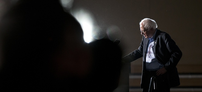 Democratic presidential candidate Sen. Bernie Sanders, I-Vt., listens to a question from the crowd at a campaign event on the campus of Grinnell College Monday, Jan. 25, 2016, in Grinnell, Iowa.