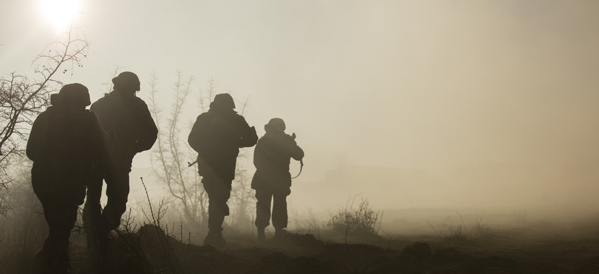 U.S. Marines, along with Bulgarian and Romanian Forces, train together at Novo Selo Training Area, Bulgaria, Jan. 15, 2016.