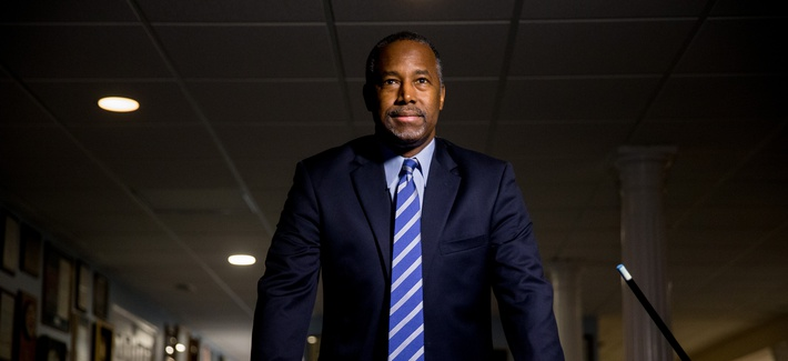 Republican presidential candidate Dr. Ben Carson poses for a photograph following an interview with The Associated Press in his home in Upperco, Md., Wednesday, Dec. 23, 2015.