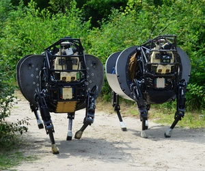 DARPA's Legged Squad Support System seeks to demonstrate that a highly mobile, semi-autonomous legged robot can carry 400 lbs of a squad's load.