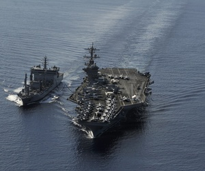 The Nimitz-class aircraft carrier USS Carl Vinson (CVN 70) and the Indian navy replenishment oiler INS Shakti (A57) conduct a refueling at sea exercise, April 13, 2012.