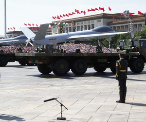 Chinese unmanned aerial vehicles are presented during a military parade to commemorate the 70th anniversary of the end of World War II in Beijing Thursday Sept. 3, 2015.