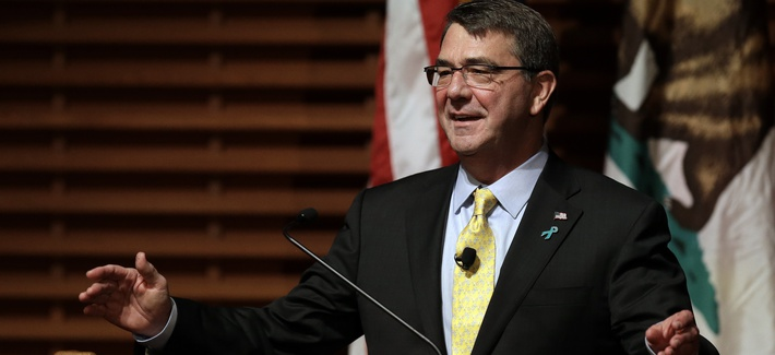 Defense Secretary Ash Carter gestures during a speech Thursday, April 23, 2015, in Stanford, Calif.