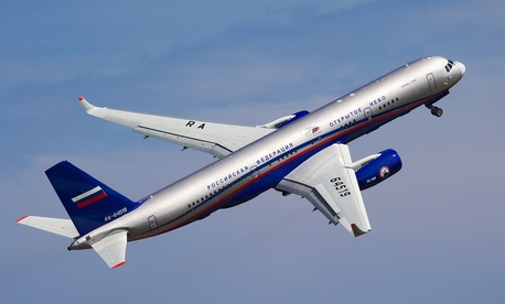 Russia's Tu-214ON Open Skies aircraft flies at the MAKS-2011 airshow outside Moscow.