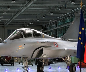 A Rafale fighter jet on the assembly line of French aircraft manufacturer Dassault Aviation.