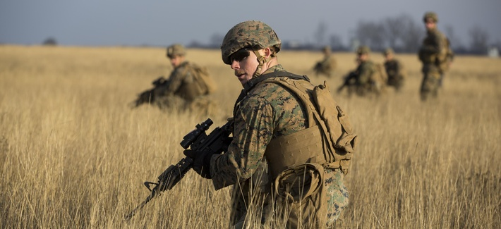 U.S. Marines train with Romanian and Moldovan forces in Romania in December 2015.