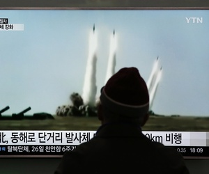 A man watches a TV screen showing a file footage of the missile launch conducted by North Korea, at Seoul Railway Station in Seoul, South Korea, Monday, March 21, 2016. North Korea fired short-range projectiles into the sea on Monday, Seoul said.