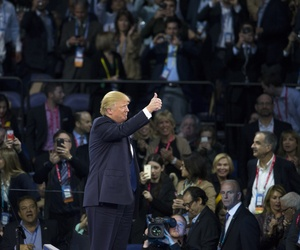 Republican presidential candidate Donald Trump gives a thumbs up at the 2016 American Israel Public Affairs Committee (AIPAC) Policy Conference at the Verizon Center, on Monday, March 21, 2016, in Washington.