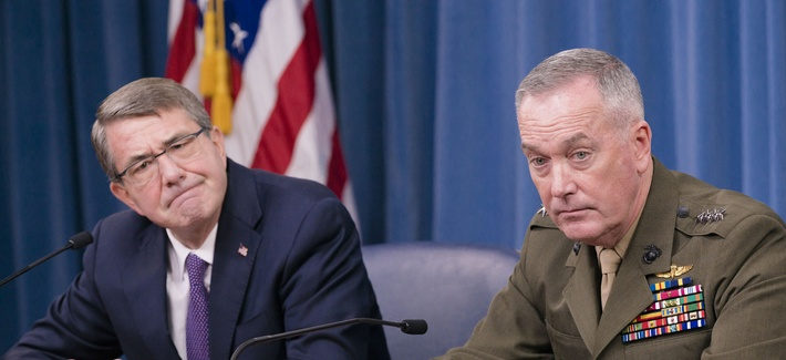 Secretary of Defense Ash Carter and U.S. Marine Gen. Joseph F. Dunford Jr., chairman of the Joint Chiefs of Staff, hold a press conference at the Pentagon, Mar. 25, 2016.