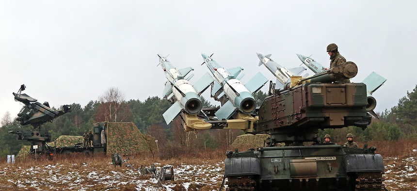 Polish soldiers demonstrate the W125 launcher SC Anti-missile system, Jan. 14, at Skwierzyna, Poland.