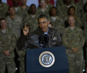 Obama talks to troops at  Bagram Air Field in 2014.