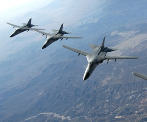 Royal Australian Air Force F-111 aircraft fly toward Nellis Air Force Base in Las Vegas, Nev., Feb. 14, 2006.