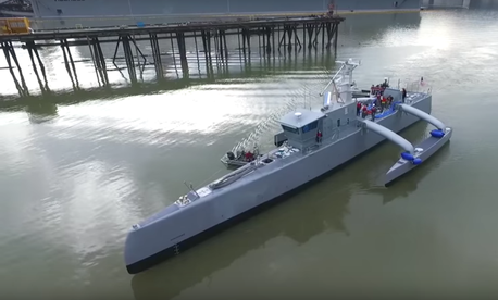 On-speed waters tests of DARPA's Anti-Submarine Warfare (ASW) Continuous Trail Unmanned Vessel (ACTUV), Feb. 17, 2016.