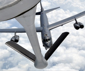 A B-52 Stratofortress approaches a KC-135 Stratotanker during an air refueling training exercise on May 12, 2014.