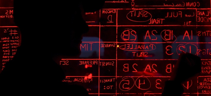 A U.S. sailor updates the status board on the pilot house aboard the guided-missile destroyer USS Roosevelt (DDG 80) in the Atlantic Ocean, March 25, 2016.
