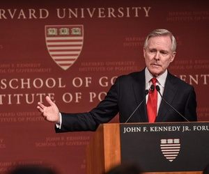 Secretary of the Navy Ray Mabus speaks at Harvard University, April 13, 2016.