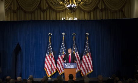 Republican presidential candidate Donald Trump gives a foreign policy speech at the Mayflower Hotel in Washington, Wednesday, April 27, 2016.