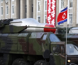 Medium-range Nodong ballistic missiles are paraded in Pyongyang, North Korea, on Oct. 10, 2015