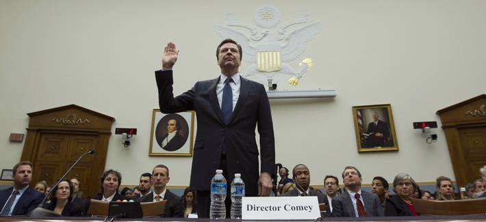 FBI Director James Comey is sworn in on Capitol Hill in Washington, Tuesday, March 1, 2016, prior to testifying before the House Judiciary Committee.
