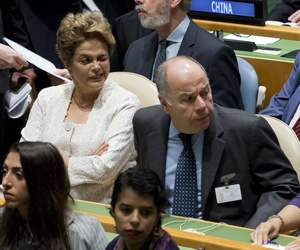 Brazil's President Dilma Rousseff attends the Paris Agreement on climate change ceremony, Friday, April 22, 2016 at U.N. headquarters.