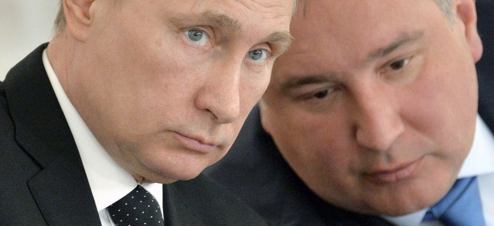 Russian President Vladimir Putin, left, and his defense czar Dmitry Rogozin at the Kremlin last year.