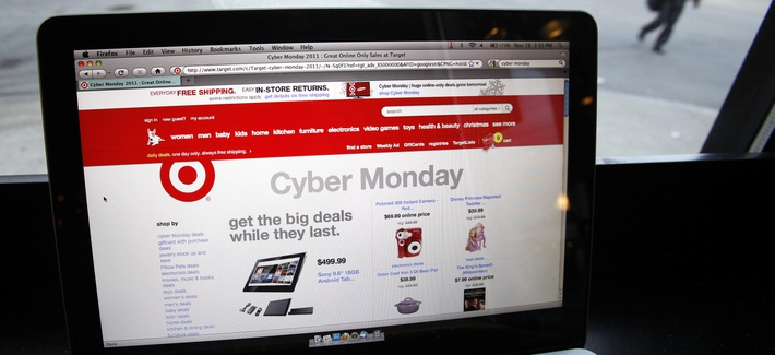 The Target web site is shown on a computer screen at a coffee shop in Providence, R.I. Monday, Nov. 28, 2011.