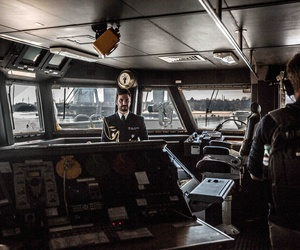 Inside the bridge of Spanish ship Alvaro de Bazan at Riga, Spain, March 24, 2016.