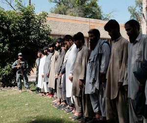 Islamic State fighters, who were arrested by Afghan security personal are presented to the media at the Afghan police headquarters in Jalalabad, east of Kabul, Afghanistan, Monday, May 9, 2016.
