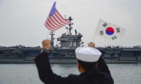 The aircraft carrier USS John C. Stennis (CVN 74) arrives at Commander, Republic of Korea Fleet base in Busan, the new home for the U.S. Navy in Korea.