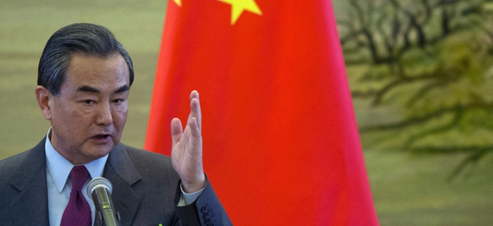 In this April 8, 2016 file photo, Chinese Foreign Minister Wang Yi gestures during a joint press conference with his German counterpart Frank-Walter Steinmeier in Beijing.
