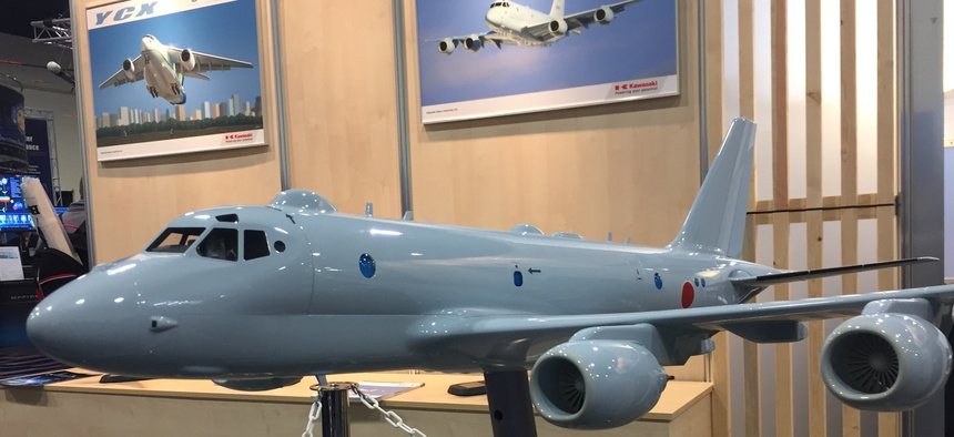 A model of the Kawasaki P-1 on display at the Navy League's Sea-Air-Space conference in National Harbor, Maryland.