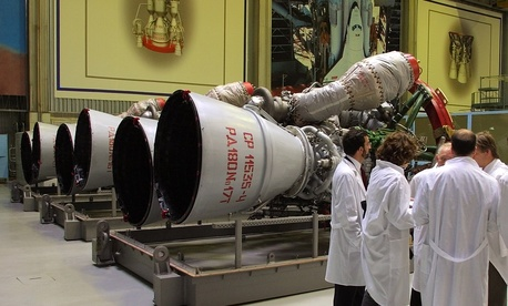 File photo of RD-180 rocket engines at the Energomash, leading Russian rocket engine company, in Moscow.