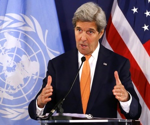 U.S. Secretary of State John Kerry speaks during a news conference in Vienna, Austria, on May 17, 2016.