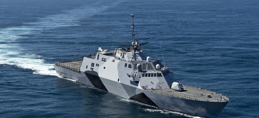 The littoral combat ship USS Freedom (LCS 1) is underway conducting sea trials off the coast of Southern California in 2013.