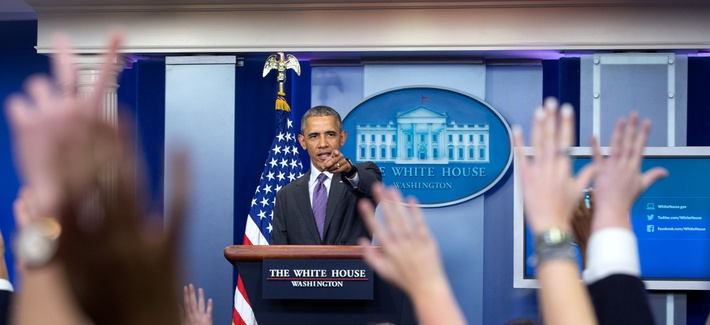 President Barack Obama takes questions from student reporters during College Reporter Day in the James S. Brady Press Briefing Room of the White House, April 28, 2016.