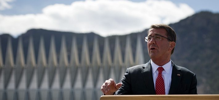 Secretary of Defense Ash Carter speaks with reporters at theU.S. Air Force Academy after touring the campus in Colorado Springs, Colo., May 12, 2016.