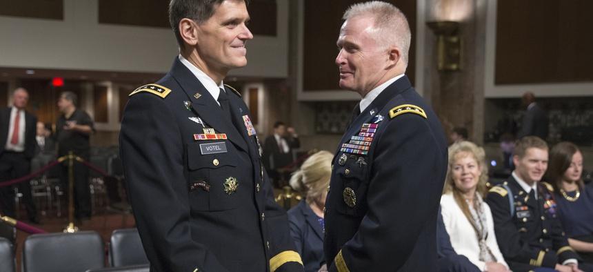 Gen. Joseph Votel (left) and Gen. Tony Thomas