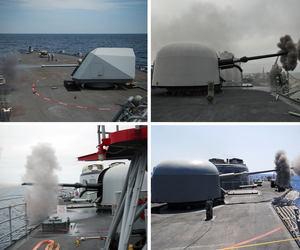 Clockwise from upper left, the Mark 3/Mk 110 57 mm gun aboard the USS Freedom; a MK-75 76mm mounted gun on the USS Thach; the MK-75 76mm gun on USS Taylor, and the 76mm rapid-fire gun aboard the USS Sides.